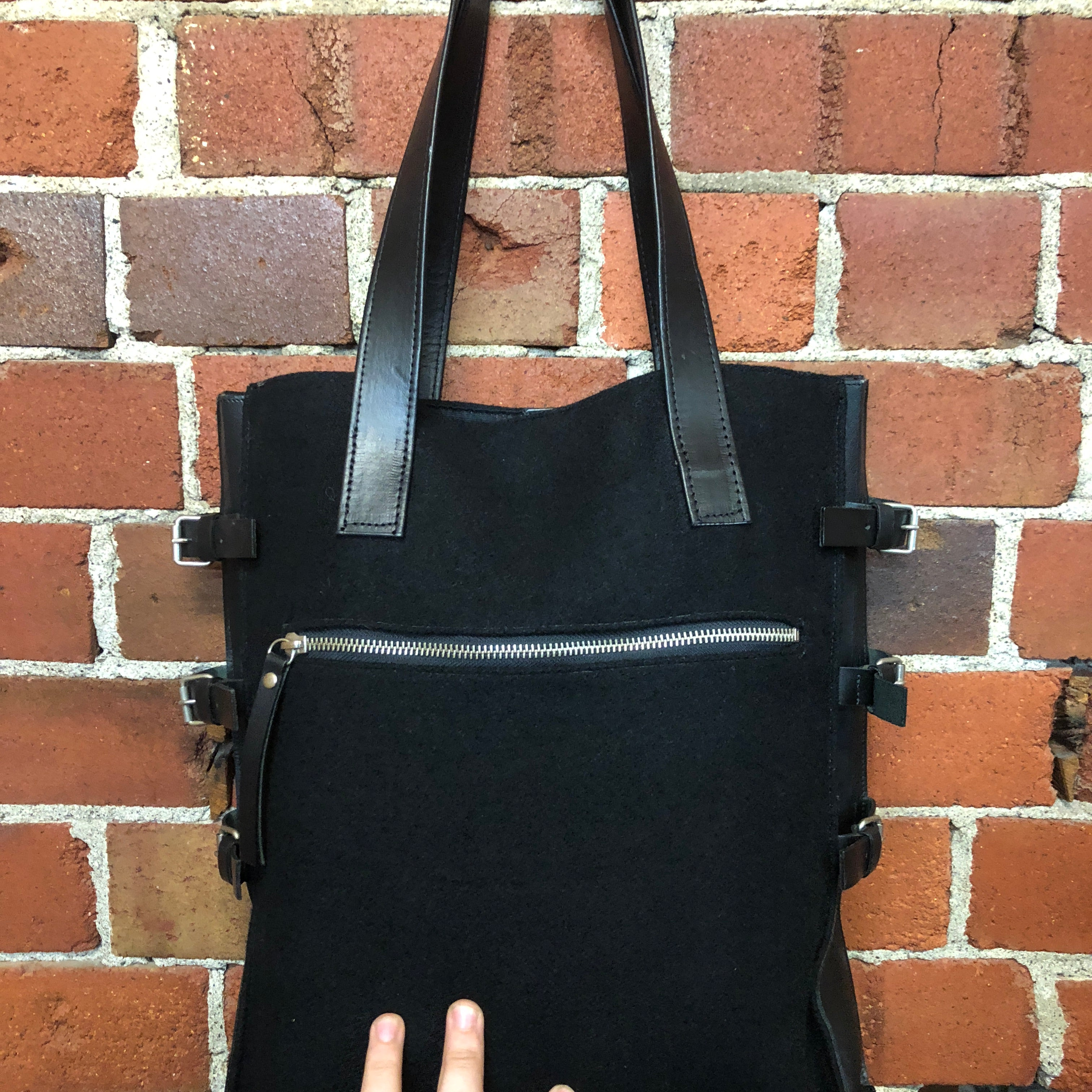 JPG GAULTIER 1990s wool buckle side tote bag