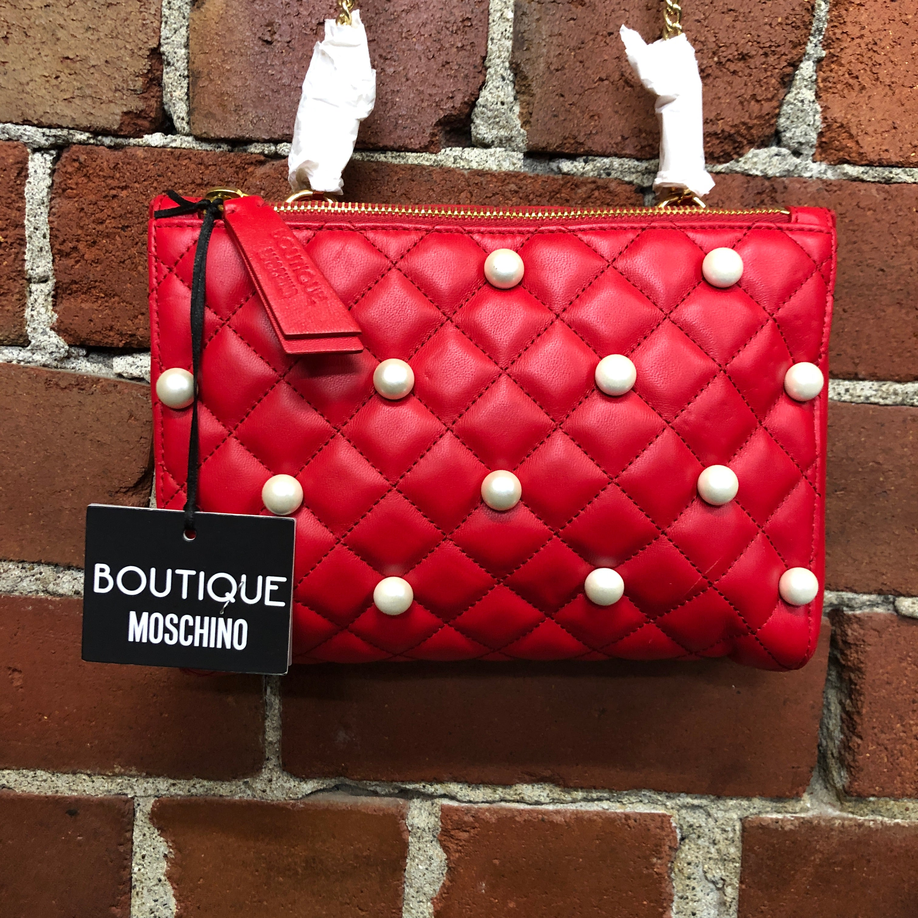 MOSCHINO BOUTIQUE NEW leather and pearl quilted handbag