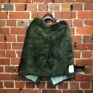 ZAMBESI green rabbit fur poncho