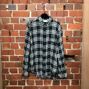 SAINT LAURENT plaid frayed edge shirt