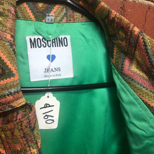MOSCHINO woven fabric 1990s motorcycle style jacket