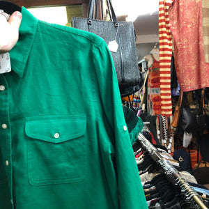 RALPH LAUREN 100% Linen bright green shirt