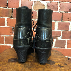 GAULTIER JUNIOR 1980s leather creeper boots! 38