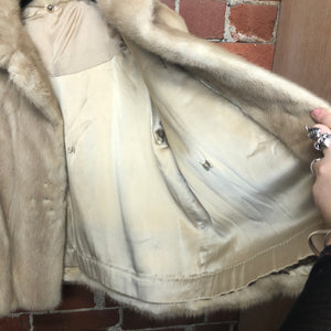 1960s Cream MINK jacket with silk lining
