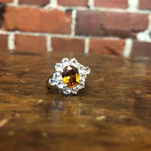 9ct gold, garnet and white sapphires ring