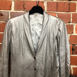 RICK OWENS silver leather blazer