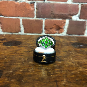 Platinum plated sterling silver peridot ring