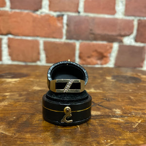 10k gold, onyx and diamond ring