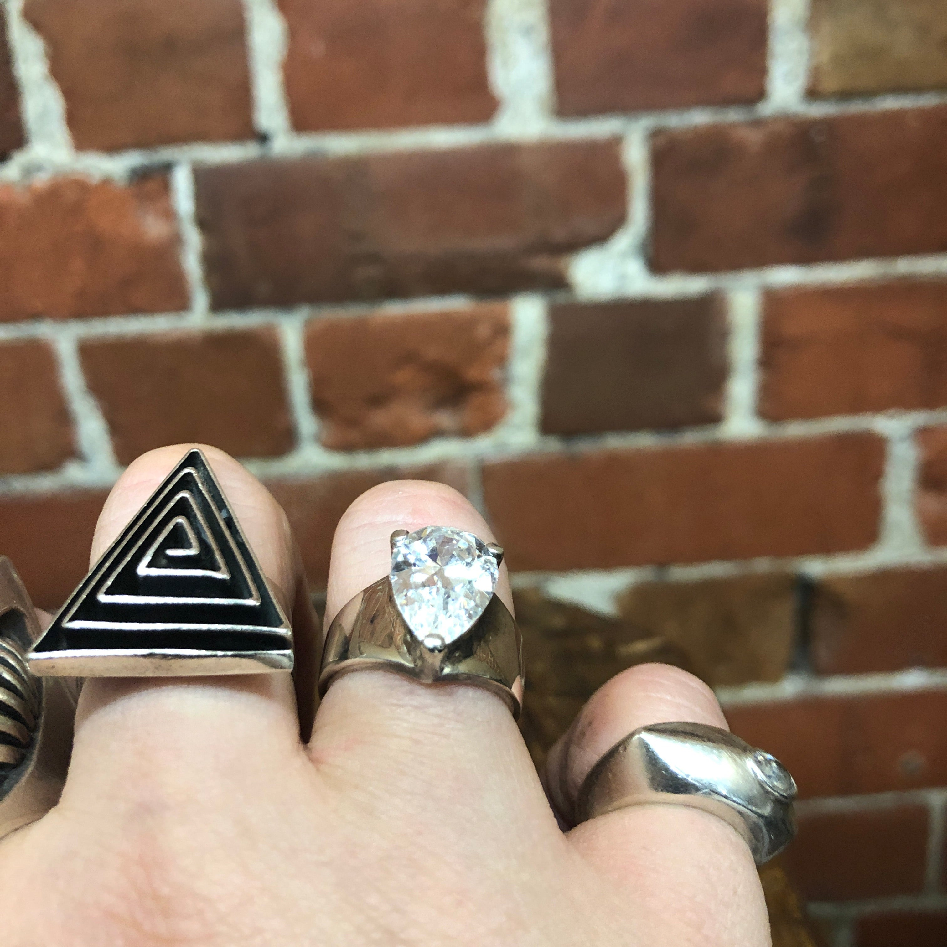 "STG SILVER AND ""diamond"" ring"