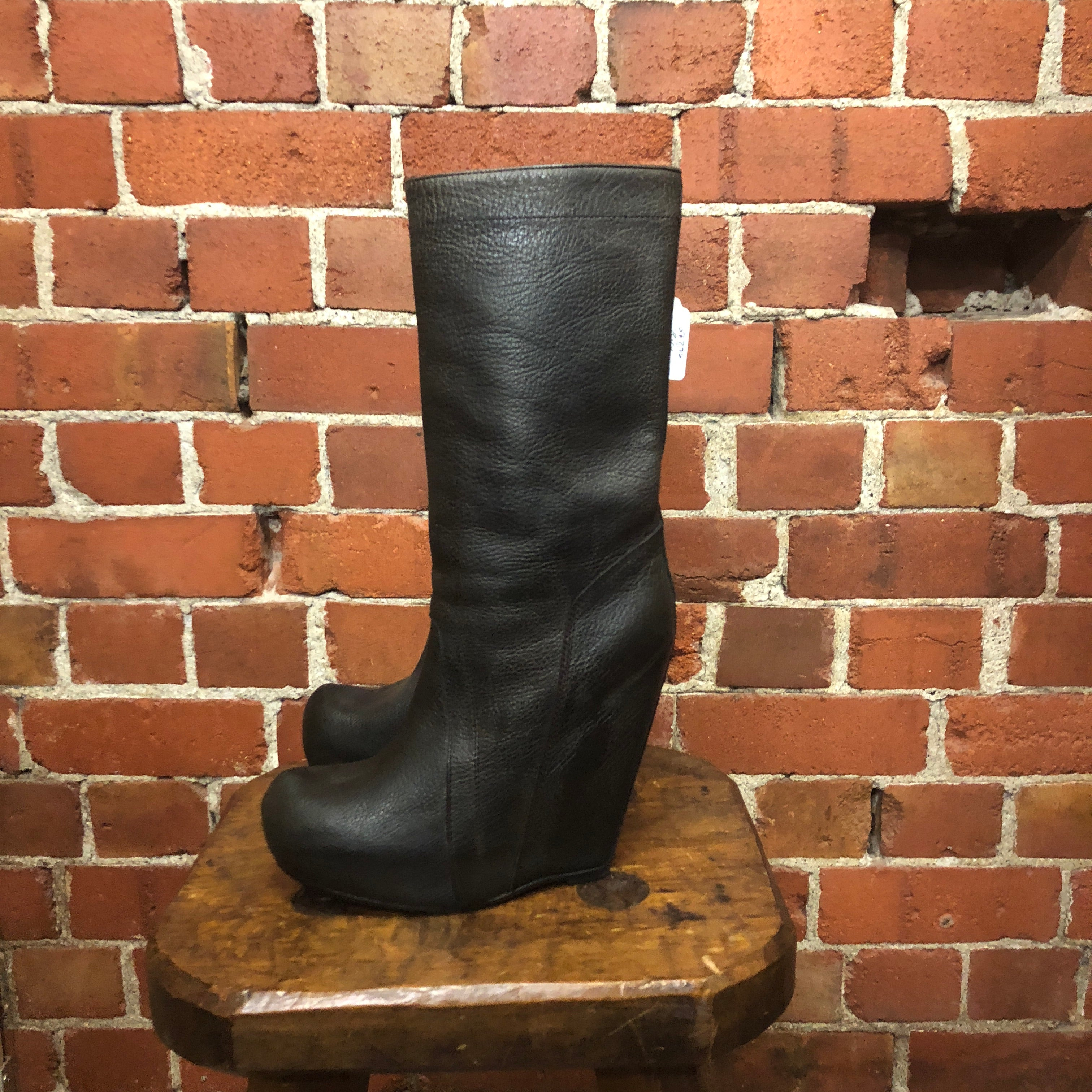 RICK OWENS leather boots 37