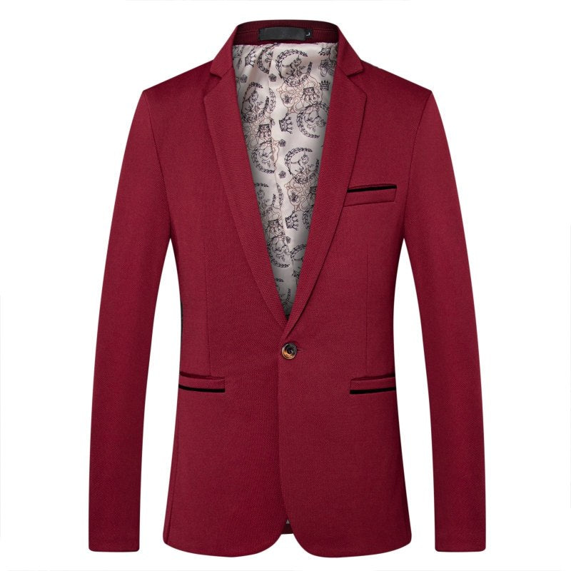 Simple Business Blazer In Red