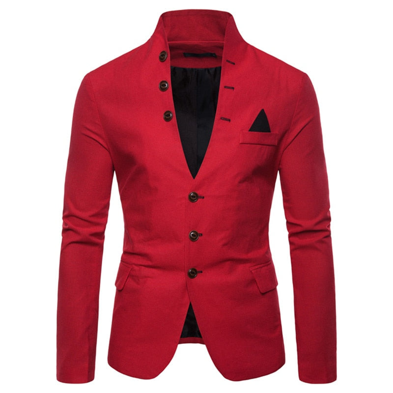 Trendy Button Up Blazer In Red