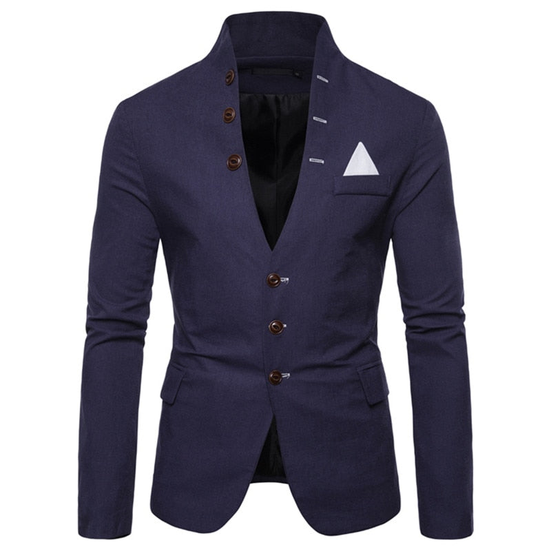 Trendy Button Up Blazer In Navy Blue