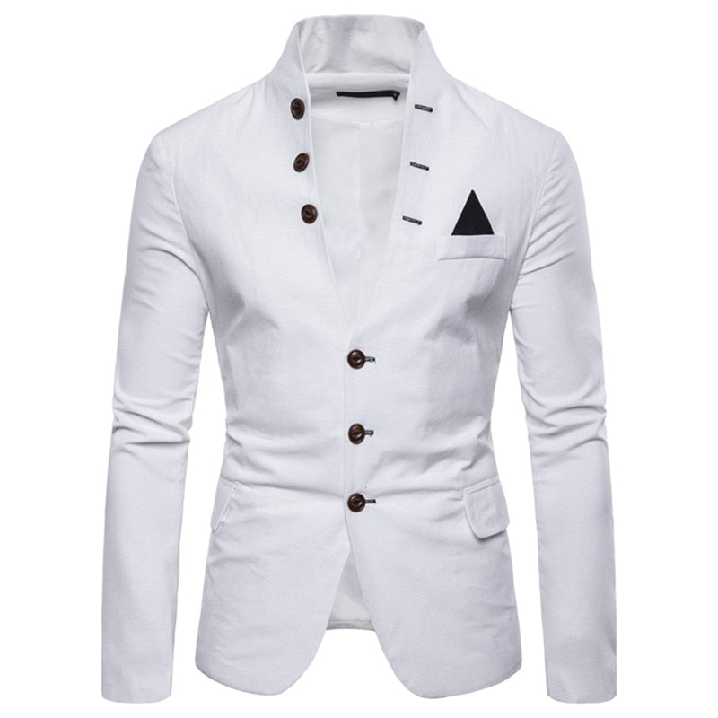 Trendy Button Up Blazer In White