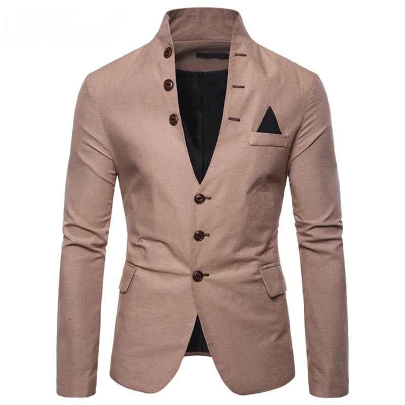Trendy Button Up Blazer In Brown