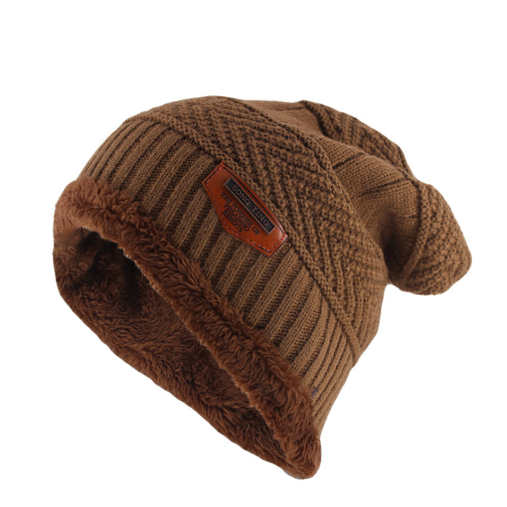 Classic Knitted Beanie In Khaki