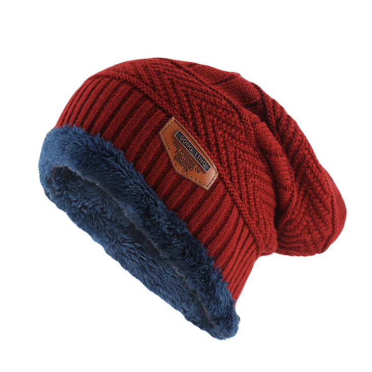 Classic Knitted Beanie In Wine Red