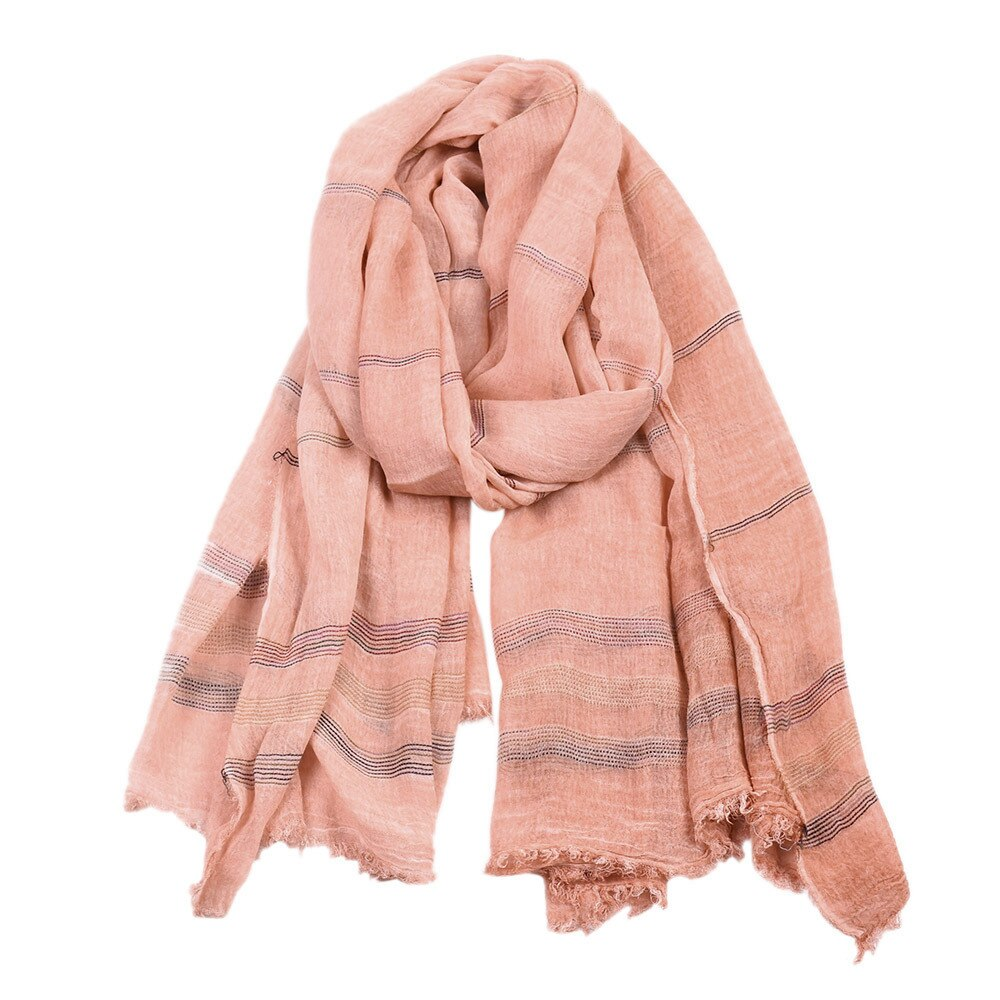 Retro Striped Scarf In Pink