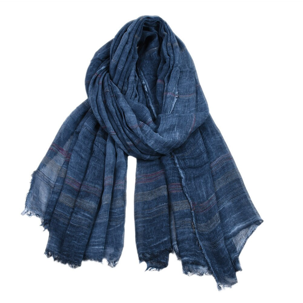 Retro Striped Scarf In Blue
