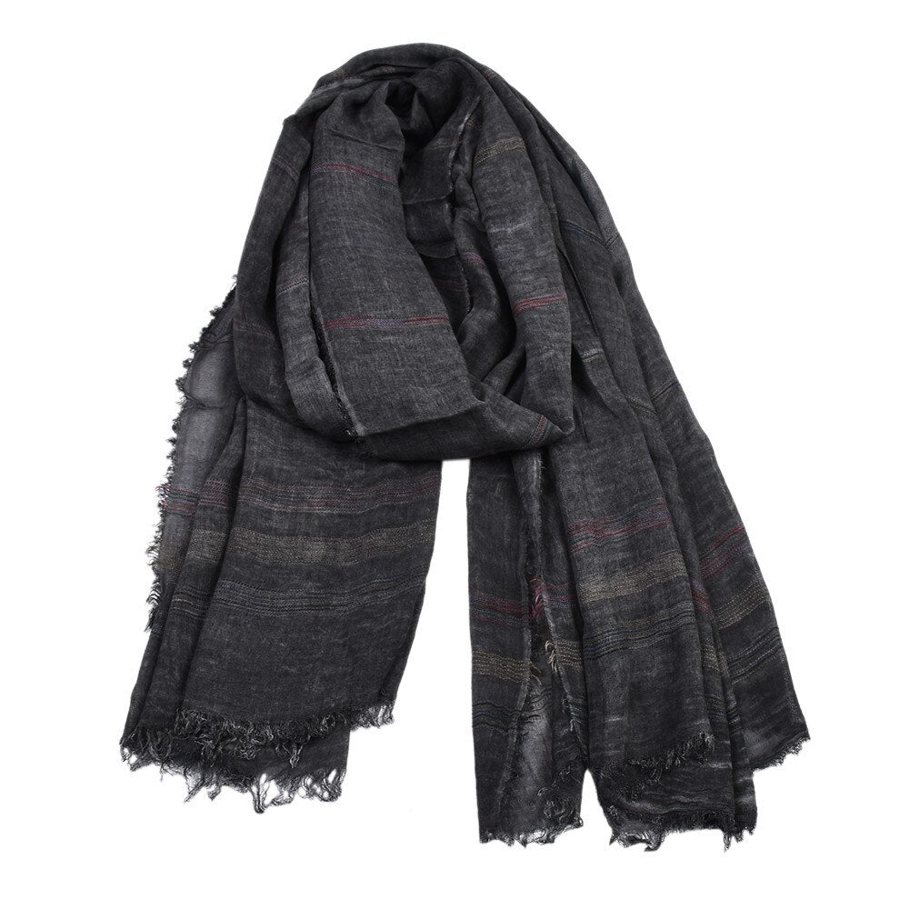Retro Striped Scarf In Black