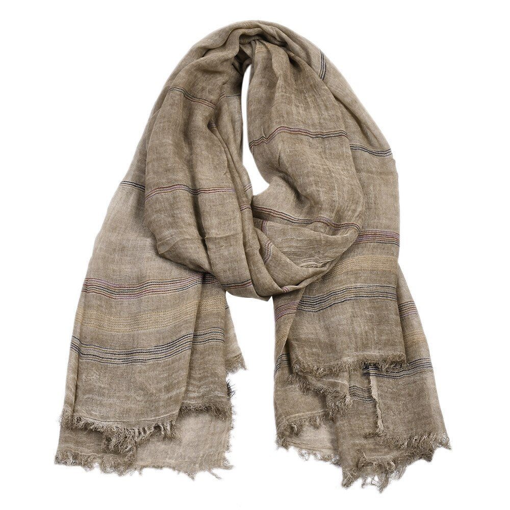 Retro Striped Scarf In Khaki