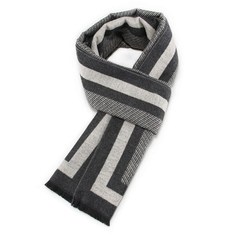 Striped Scarf In Gray