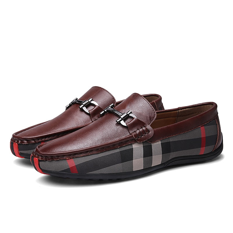 Checkered Loafers In Bown