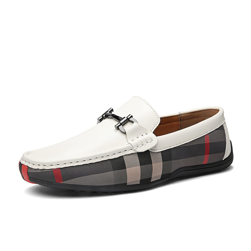Checkered Loafers In White
