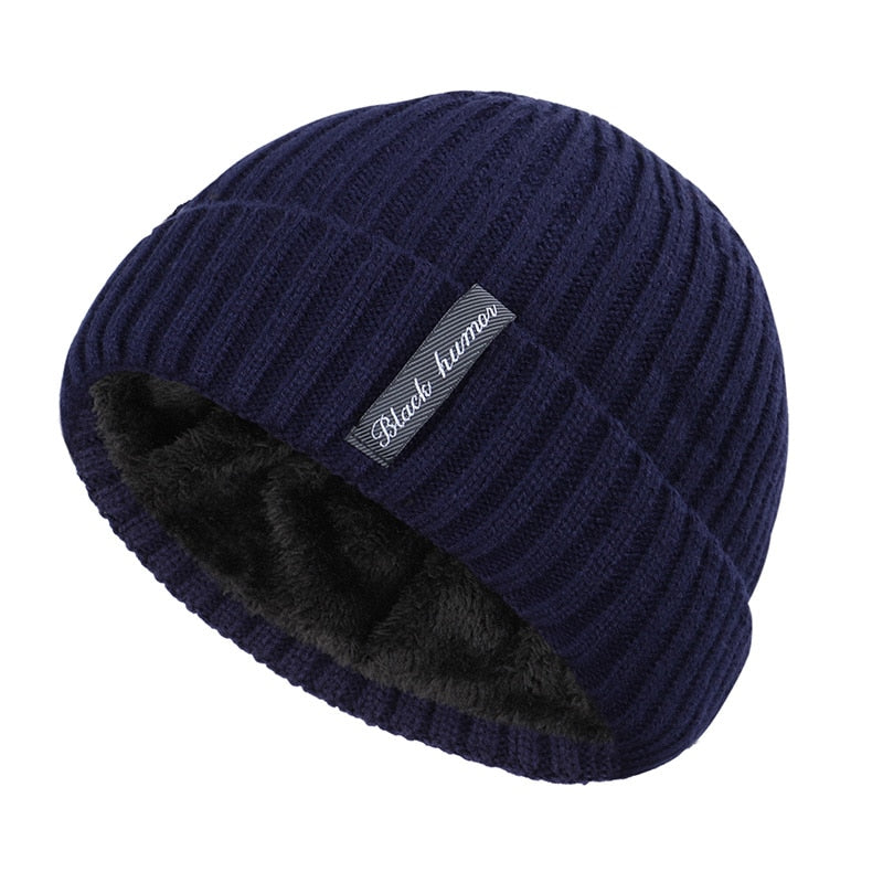 Simple Cuffed Beanie In Navy Blue