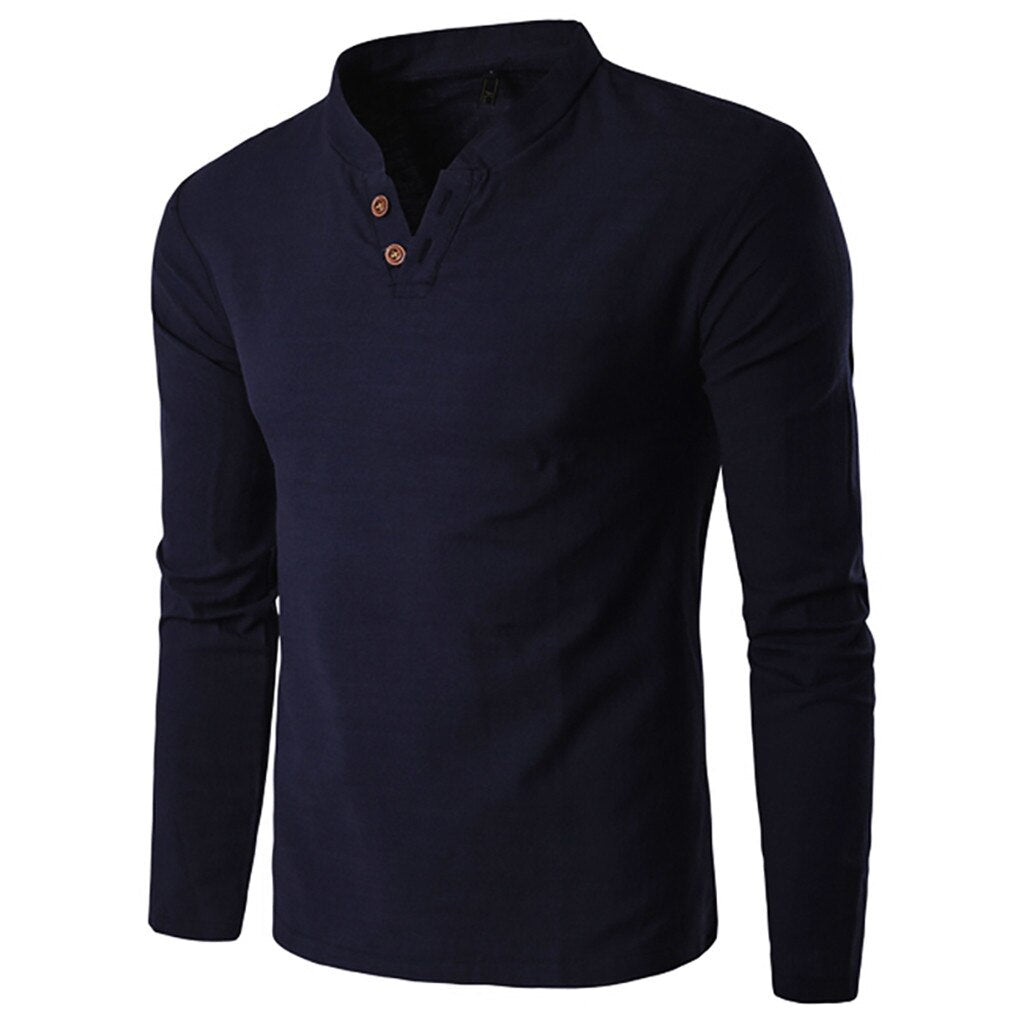 Classic Style Long Sleeve Shirt In Dark Blue
