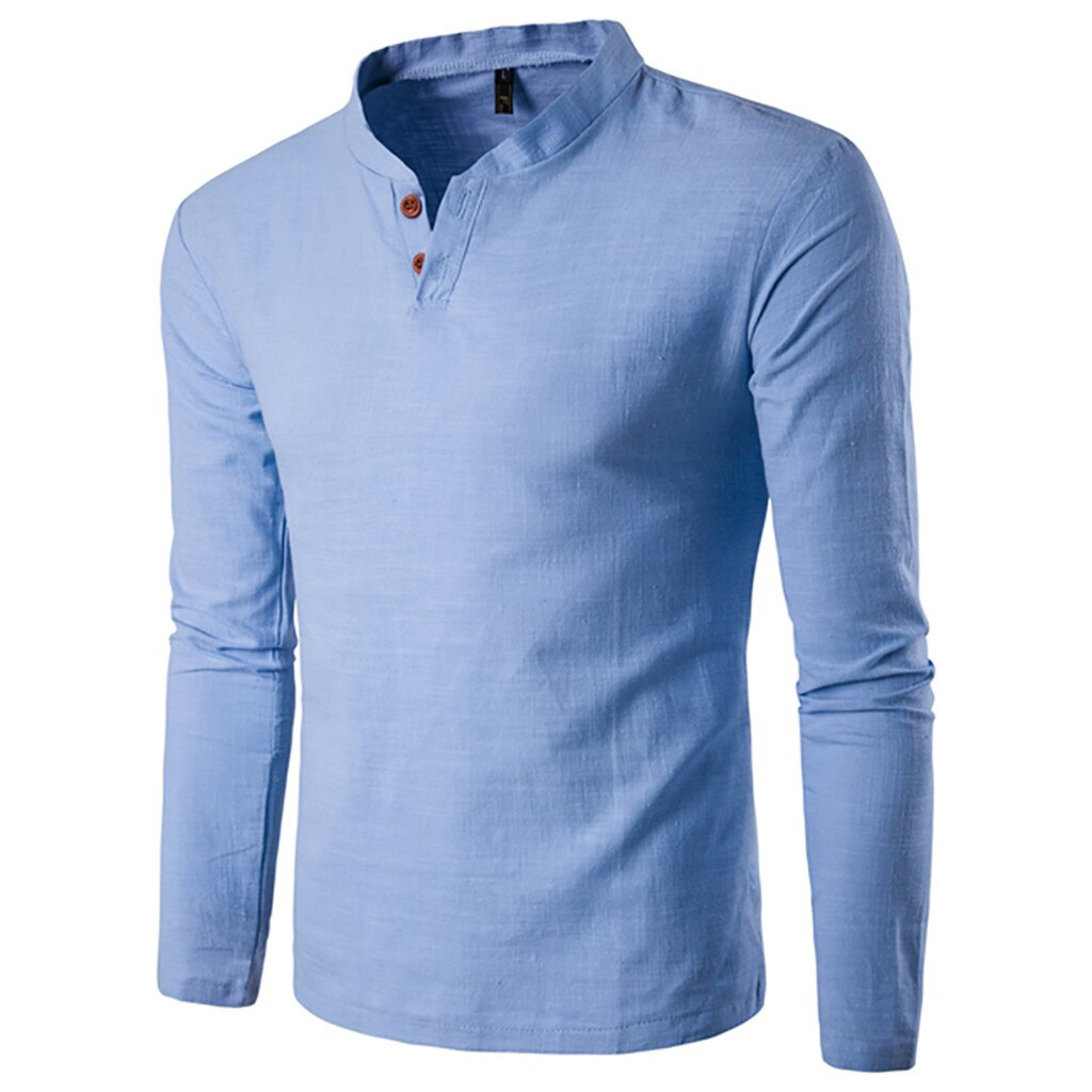 Classic Style Long Sleeve Shirt In Light Blue