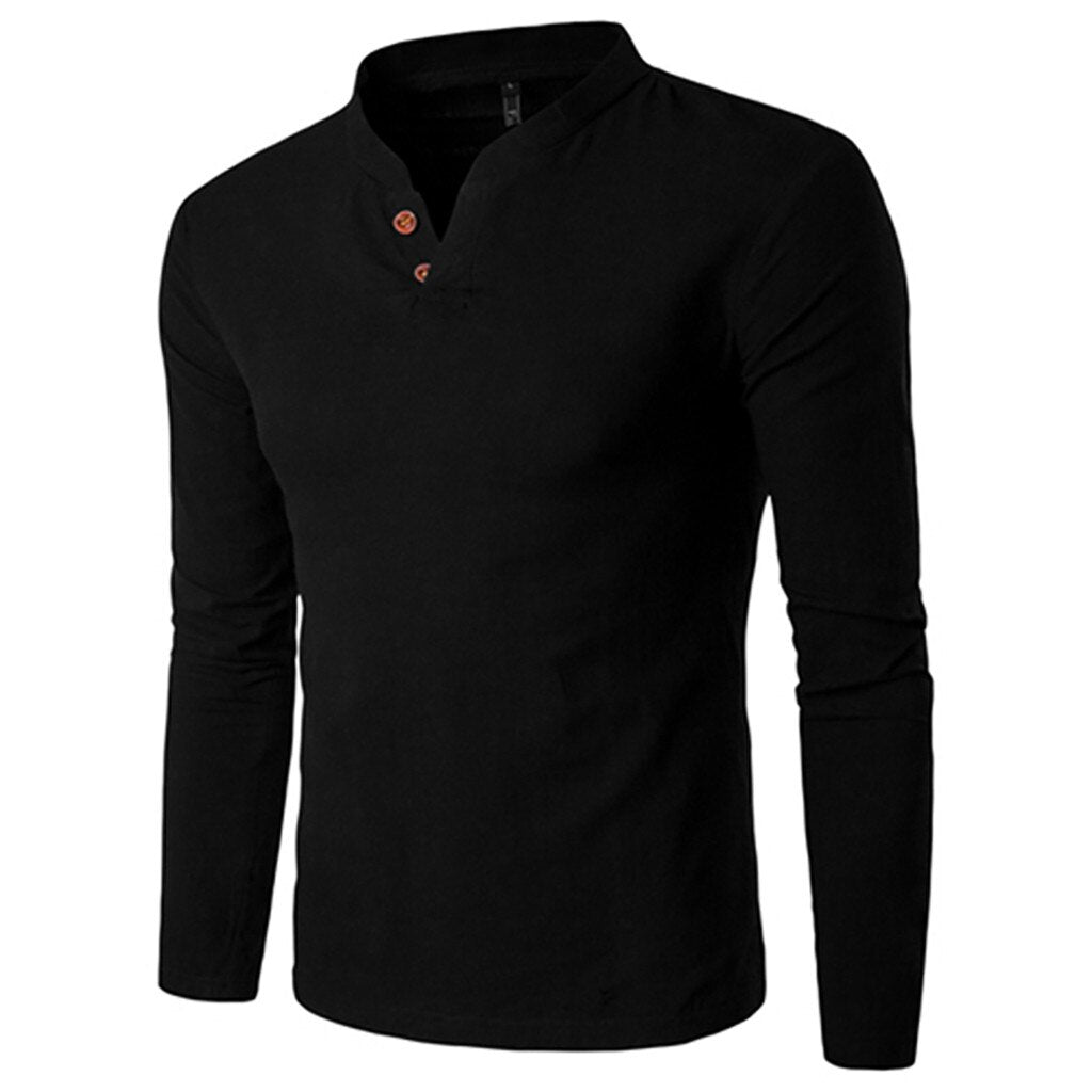 Classic Style Long Sleeve Shirt In Black