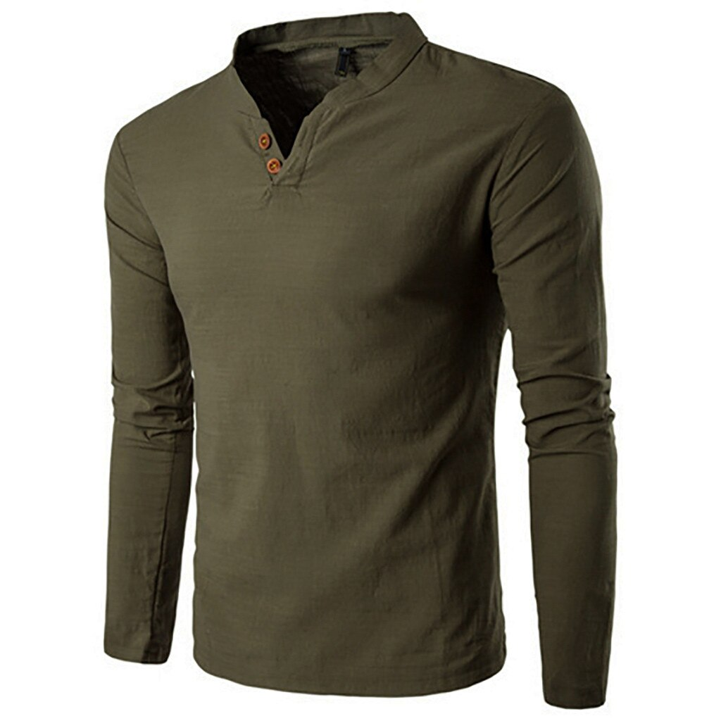 Classic Style Long Sleeve Shirt In Army Green