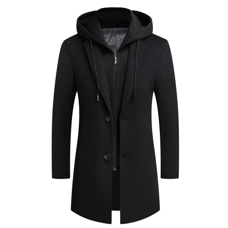 Mid-Length Woolen Coat In Black