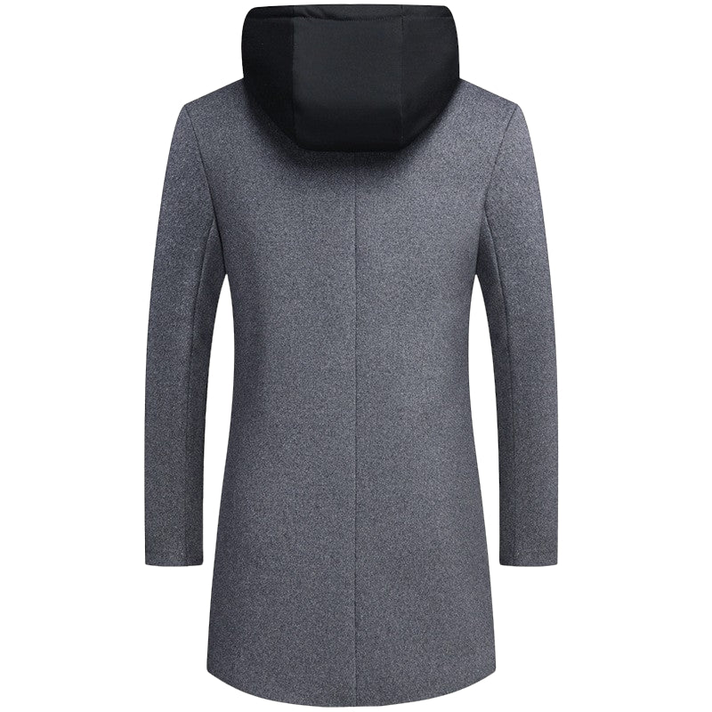 Mid-Length Woolen Coat In Gray