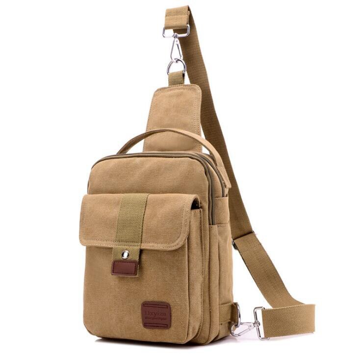 Canvas Crossbody Bag In Khaki
