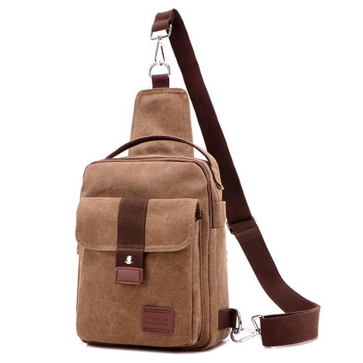 Canvas Crossbody Bag In Coffee