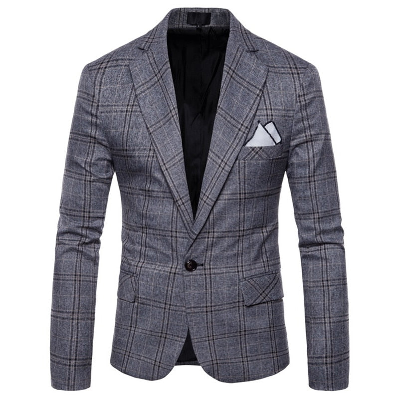 Plaid Pattern Blazer In Gray