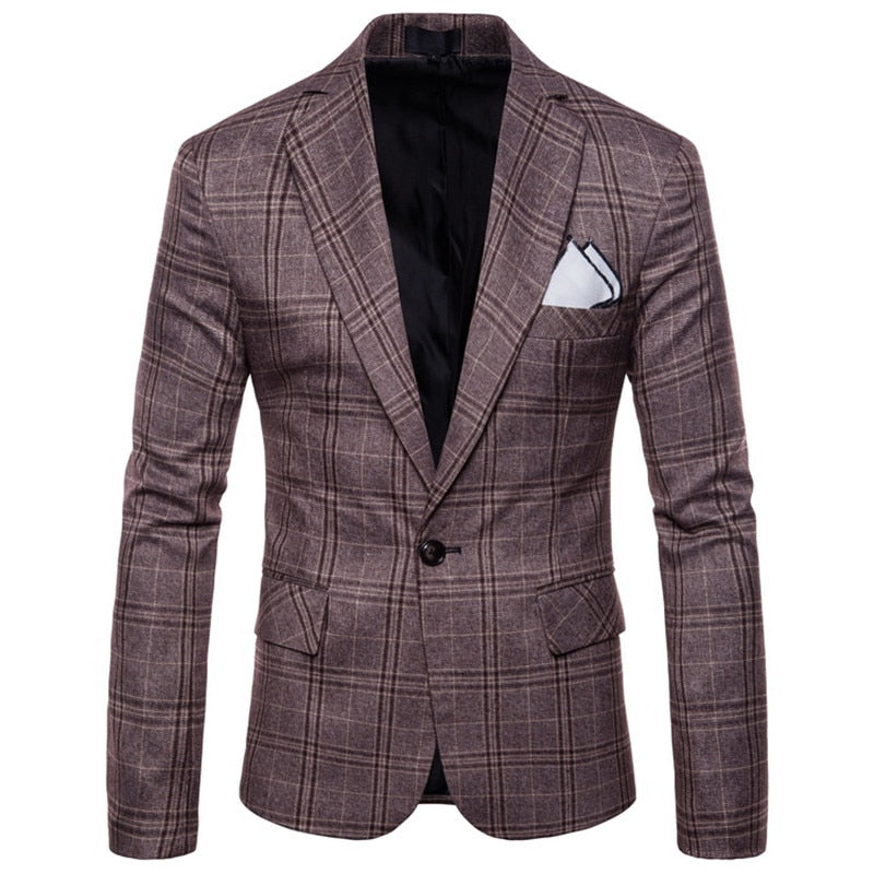 Plaid Pattern Blazer In Brown