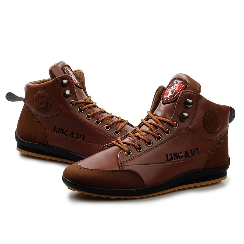 High-Top Shoes In Light Brown