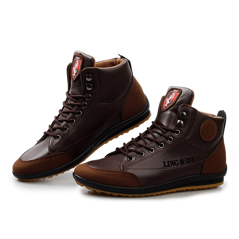 High-Top Shoes In Dark Brown