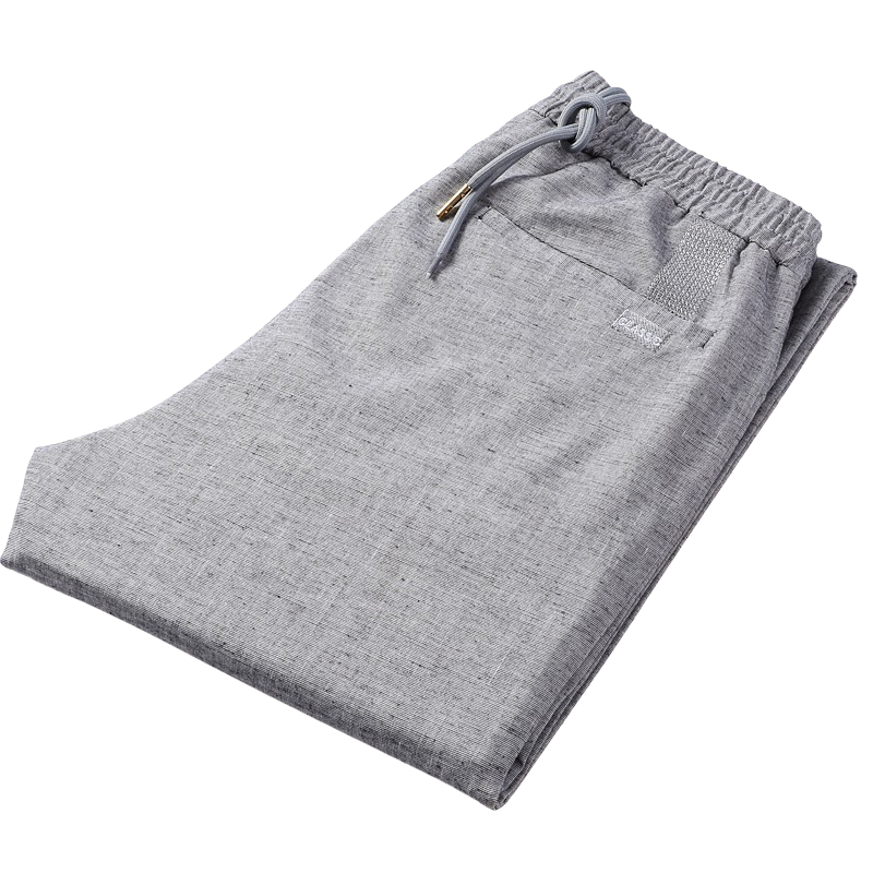 Straight Linen Pants In Gray