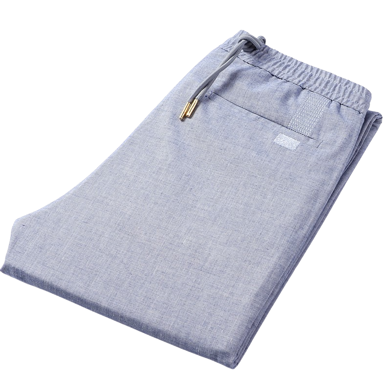 Straight Linen Pants In Blue