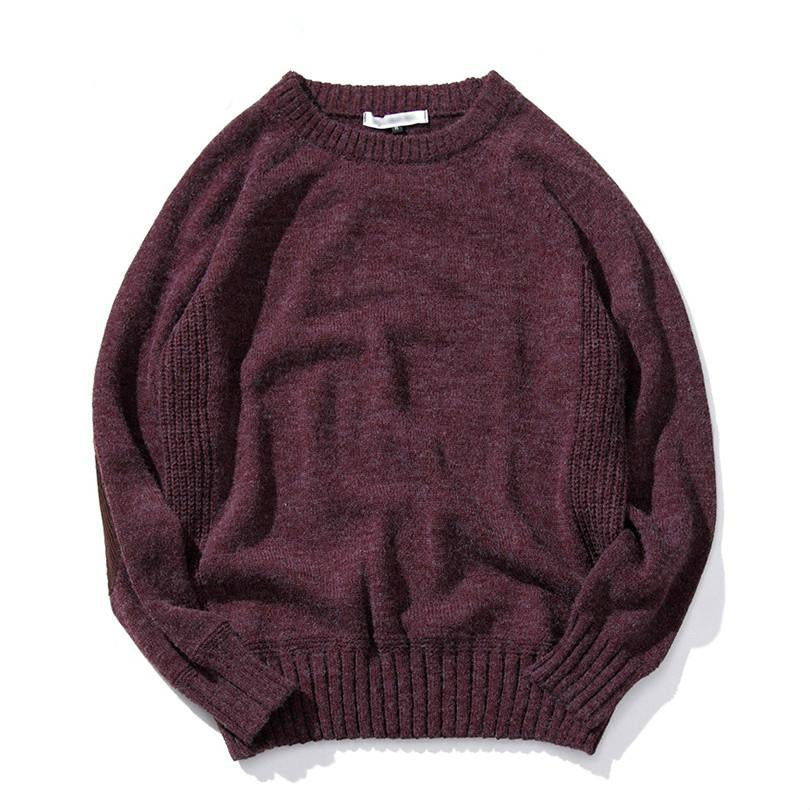Long Sleeve Knitted Sweater In Burgundy