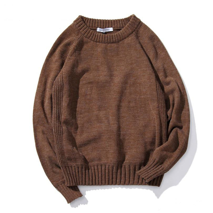 Long Sleeve Knitted Sweater In Coffee