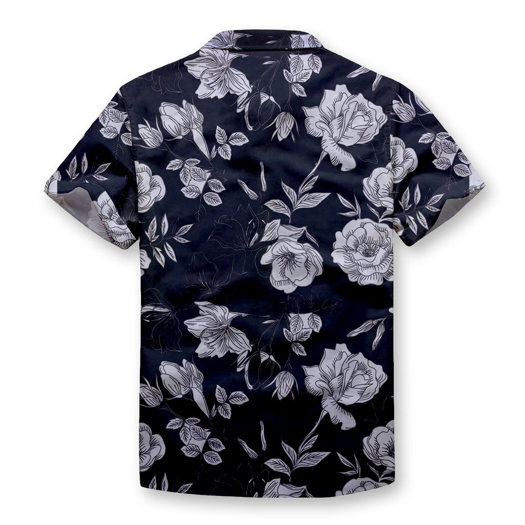 Silver Flowers Button Shirt