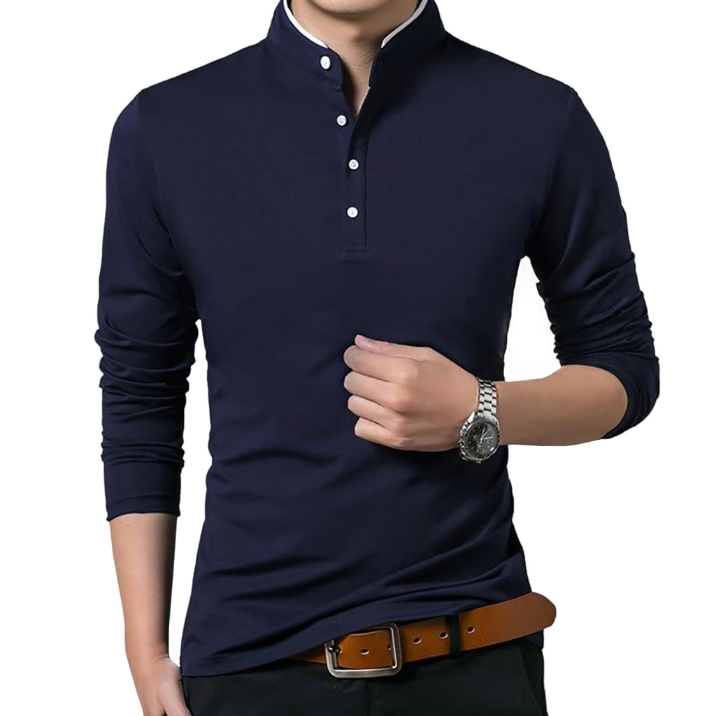 Mandarin Collar Polo Shirt In Blue