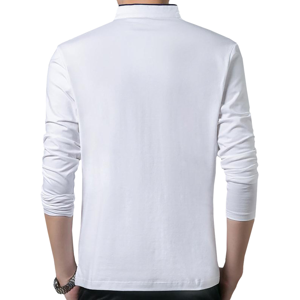 Mandarin Collar Polo Shirt In White