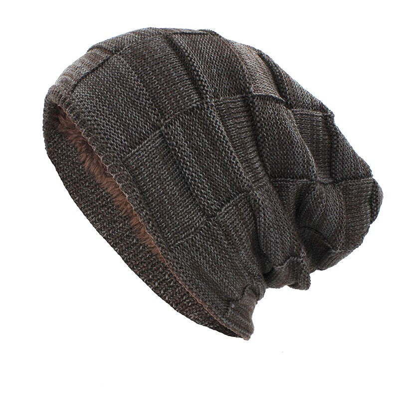 Knitted Woolen Beanie In Brown