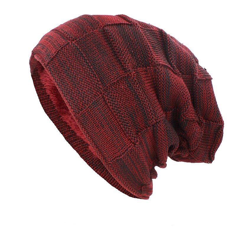 Knitted Woolen Beanie In Burgundy